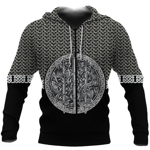 1stIceland Viking Sword Zip-Hoodie Mix Celtic Patterns