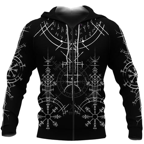 1stIceland Magic Ancient Viking Tattoo Zip-Hoodie