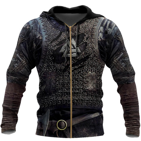 Image of 1stIceland Viking Zip Up Hoodie, Valknut 3D Viking Armour Th00 - 1st Iceland
