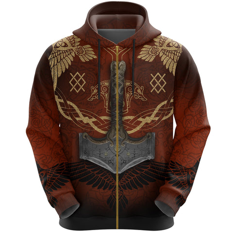 1stIceland Viking Zip Up Hoodie, Raven Of Odin Mjolnir Gungnir K7 - 1st Iceland