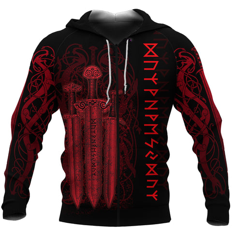 1stIceland Viking Sword Zip-Hoodie Red TH4 - 1st Iceland