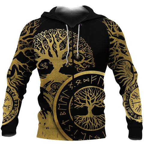 1stIceland Viking Yggdrasil Zip-Hoodie Gold TH4 - 1st Icelan