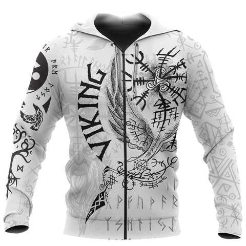 Image of 1stIceland Viking 3D Printed Unisex Zip Hoodie Tattoo TH12 - 1st Iceland