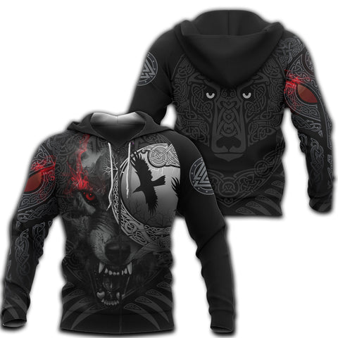 1stIceland Viking Angry Moon Wolf Zip Hoodie TH12 - 1st Iceland