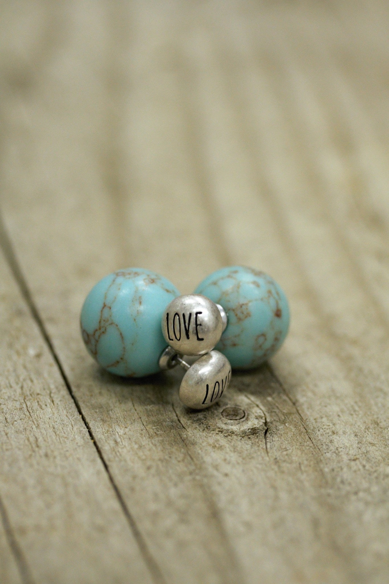 Etched Love Double Stud Earrings