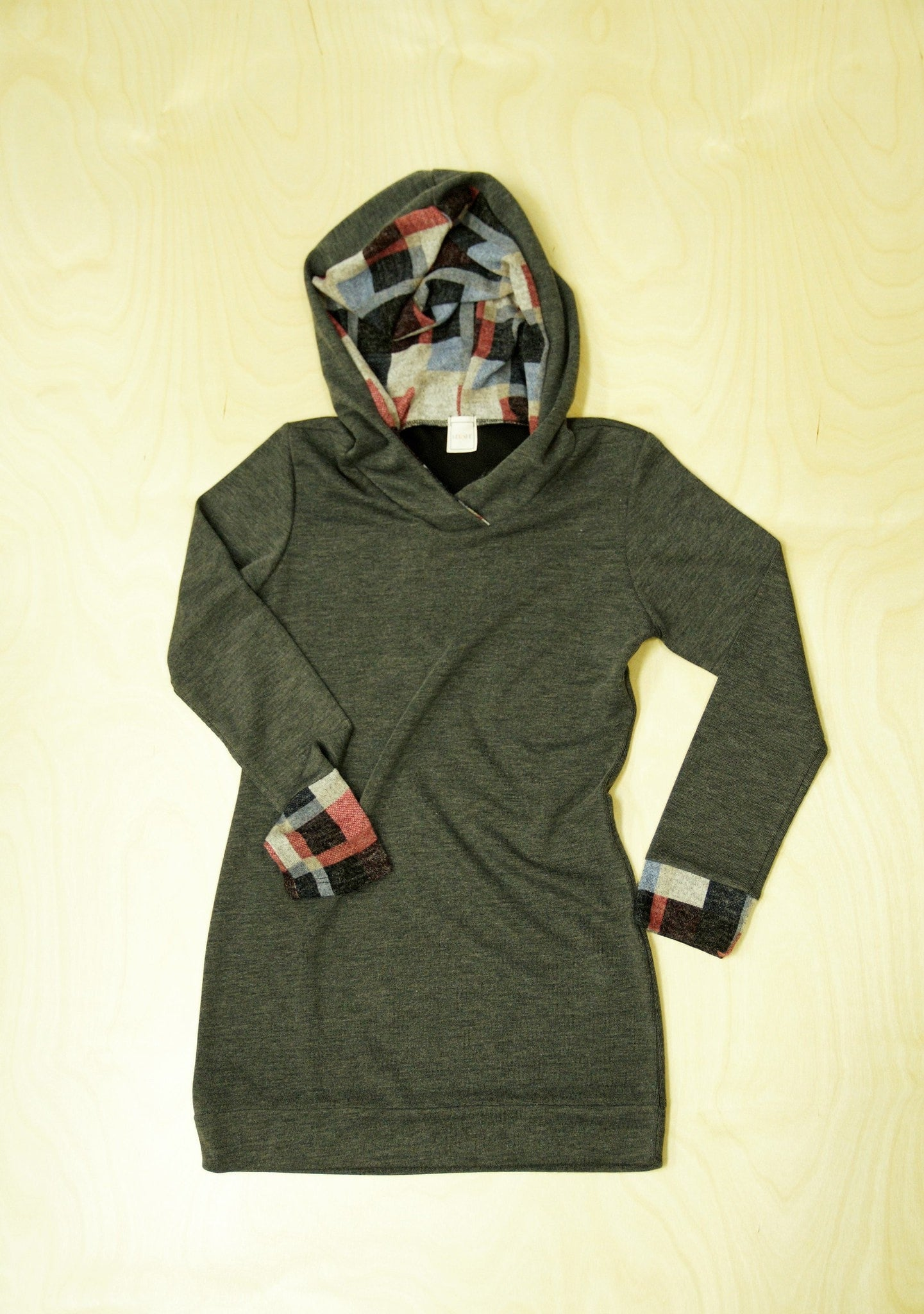 Lightweight Knit Hoodie with Plaid Detail Cuffs