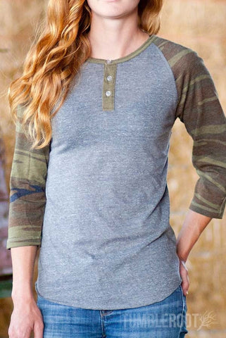 three-button down camo and grey tri-blend henley tee for country girls by TumbleRoot