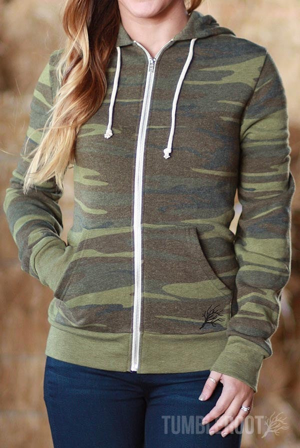 Camo Full-Zip Soft Hooded Sweatshirt