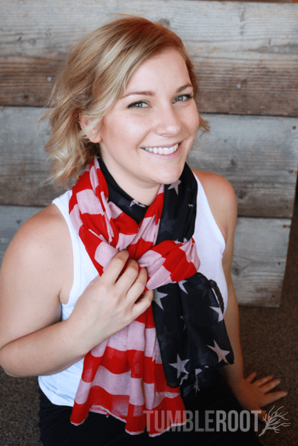 Show your 'merica pride with these adorable American flag scarves! Original wash shown.