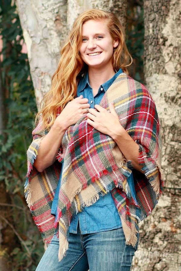 soft over-sized plaid blanket scarf. Perfect for picnics, festivals and outdoor events.