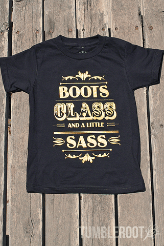 "Super adorable ""Boots Class and a Little Sass"" Tees for your little cowgirl!"