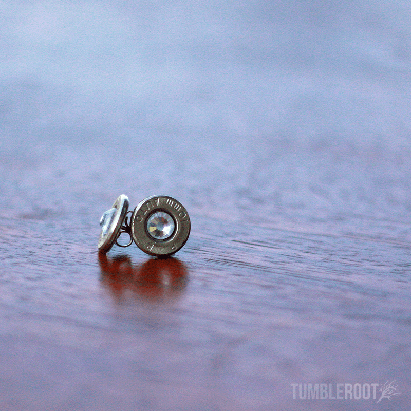 Stud earrings made from actual bullets. The perfect amount of bad-ass. Pictured: Chrome with Clear Rhinestones.