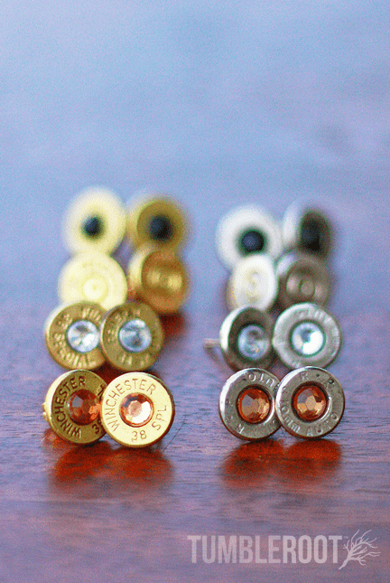 Stud earrings made from actual bullets. The perfect amount of bad-ass.