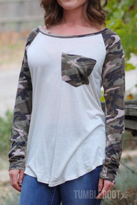 camo 3/4 sleeve raglan tee with pocket - camouflage baseball tee