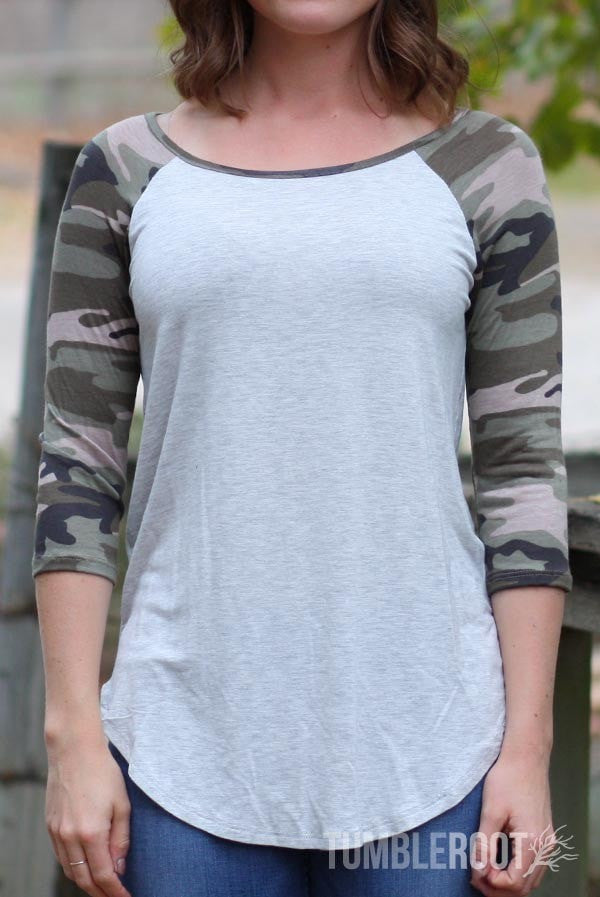 camo 3/4 sleeve raglan tee with pocket - camouflage baseball tee for country girls by TumbleRoot