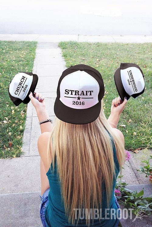 Rock the vote at all those country festivals with our Country Election snapback hats! Strait 2016, Underwood 2016 and Church 2016!