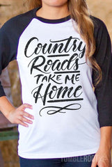 Country Festival Outfit - Country Roads Take Me Home 3/4 sleeve raglan tee by TumbleRoot