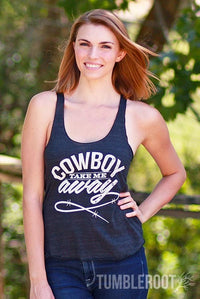 """Cowboy Take Me Away"" country cute racerback tank tops! Natalie is 5'10 and wearing a size Small."