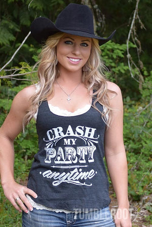 "Adorable country music racerback tank top ""crash my party anytime"" the perfect summer country concert tank top."