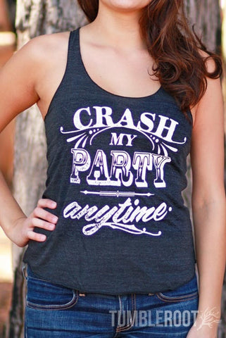 "Adorable country music racerback tank top ""crash my party anytime"" the perfect summer country concert tank top. Marisa is 5"