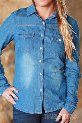 Cute country girl denim long sleeve shirt