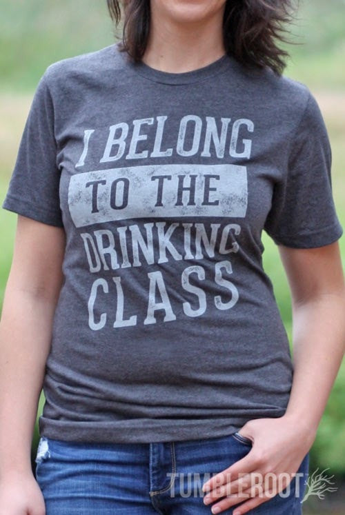 """I Belong to the Drinking Class"" womens country festival tee"