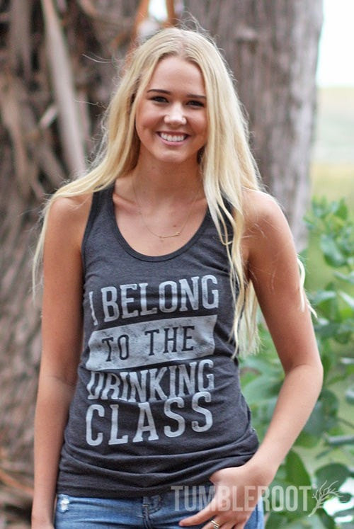 """I Belong to the Drinking Class"" women's country festival tank top"