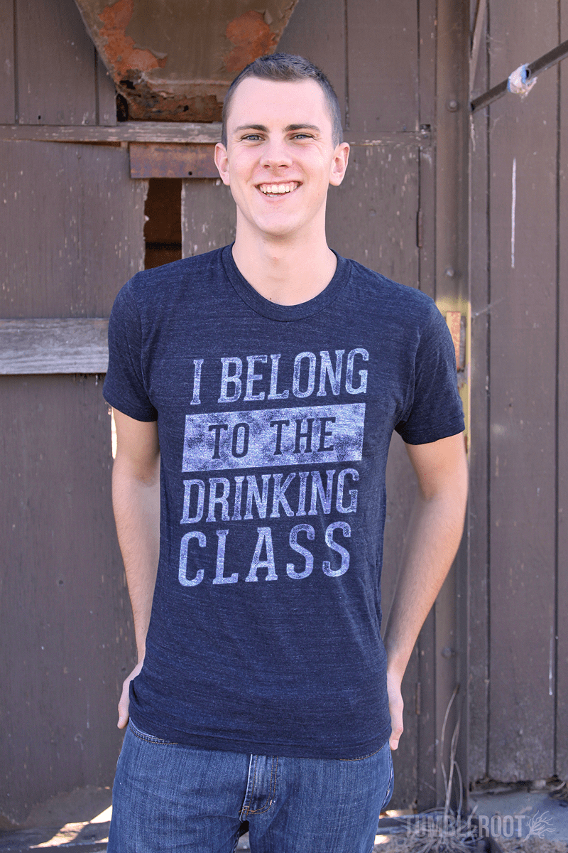 """I Belong to the Drinking Class"" men's country festival tee shirt"