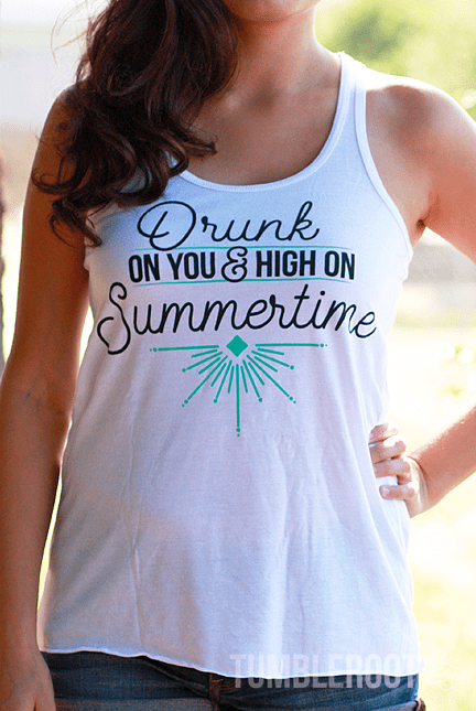 "Adorable ""Drunk on You"" country girl tank top! Perfect for your next festival. Marisa is 5'6 and wearing a size Small."