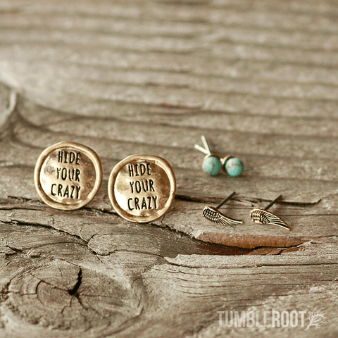 "Adorable ""Hide Your Crazy"" engraved country girl earring set. Brass and Turquoise shown."