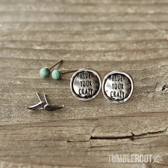 "Adorable ""Hide Your Crazy"" engraved country girl earring set. Silver and Turquoise shown."