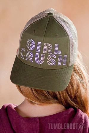 """girl crush"" bling rhinestone country girl baseball snapback hat"