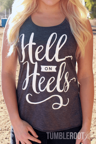 "Adorable country girl racerback tank top ""Hell on Heels"" the perfect country concert tank top. Brandi is 5"