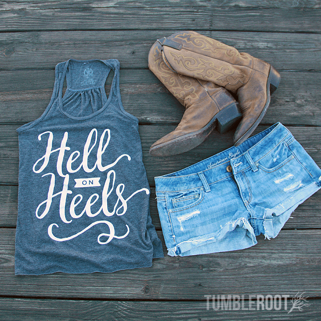 "Adorable country girl racerback tank top ""Hell on Heels"" the perfect country concert tank top."