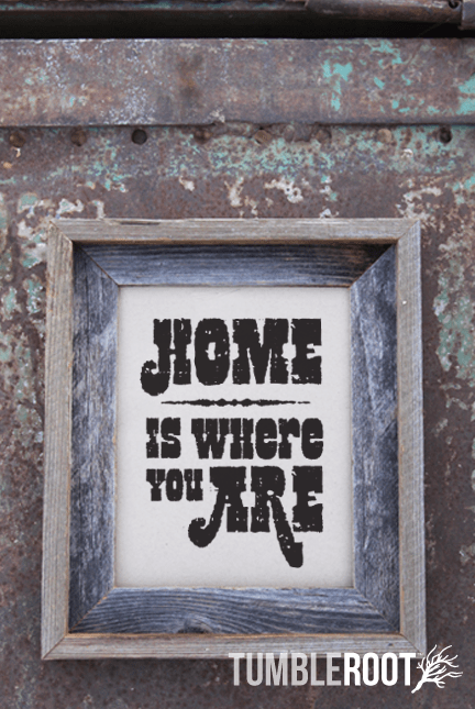 Home is Where You Are - adorable rustic print. Black ink on Paper Bag.