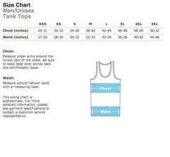 "Size chart for TumbleRoot's super cute ""I'd Rather be Shotgunning a Beer"" unisex tank tops!"
