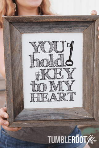 """You Hold The Key To My Heart"" typographic art print. 8x10 and 16x20. Black ink on paper bag."