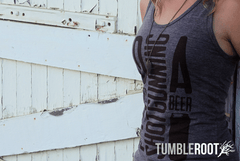 """I'd Rather Be Shotgunning a Beer"" super cute unisex tri-blend tank tops. ""Tri-Coffee"" material with dark brown ink."