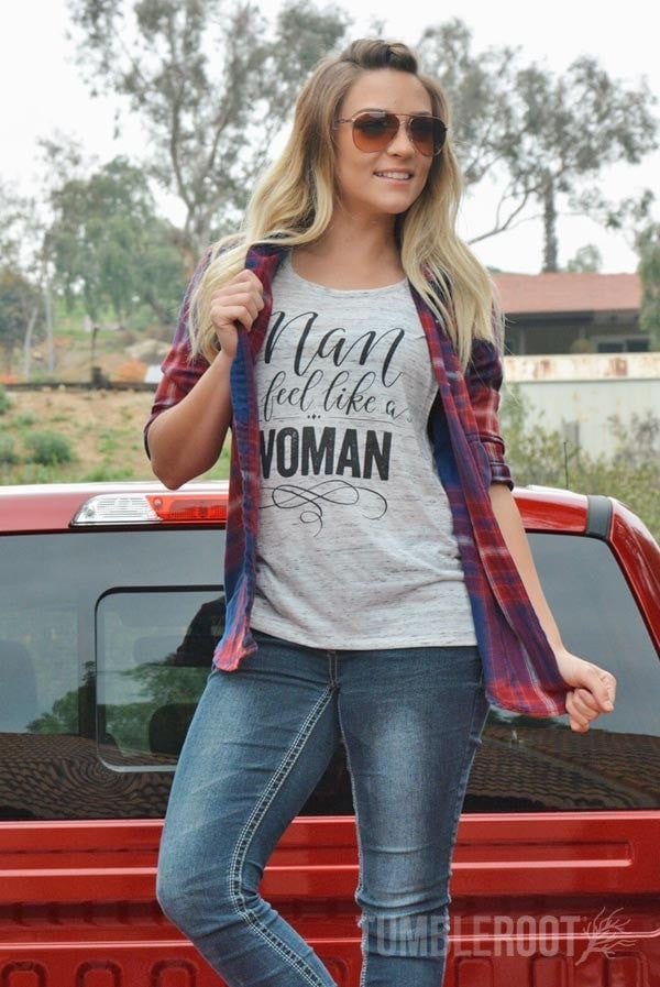 Man I feel like a woman country girl outfit - fun country music tank top for stagecoach!