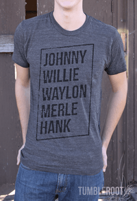 """Classic Kings"" Johnny Willie Waylon Merle Hank. Men's country festival tee shirt. Great gift for a country guy!"