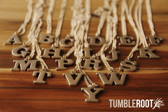 Vintage TumbleRoot brass letter necklace! $16