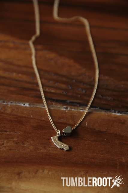 TumbleRoot state love brass charm necklace - California