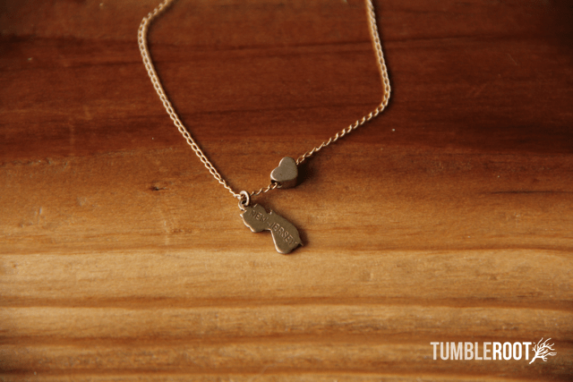 TumbleRoot state love brass charm necklace - New Jersey