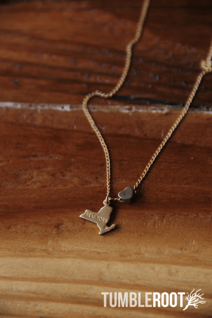 TumbleRoot state love brass charm necklace - New York
