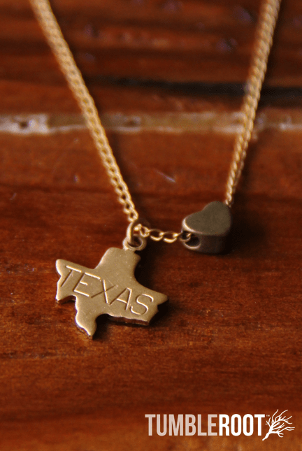 TumbleRoot state love brass charm necklace - Texas - all states available!
