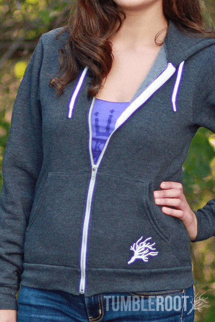 Show your Tumblie pride with our adorable zip hoodies! Marisa is 5'6 and wearing a size Extra Small in this photo.
