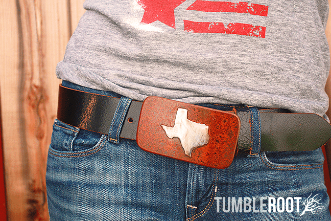 Texas State rustic belt buckle