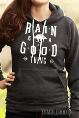 """Rain is a Good Thing"" country girl pullover hoodie with silver foil detail"