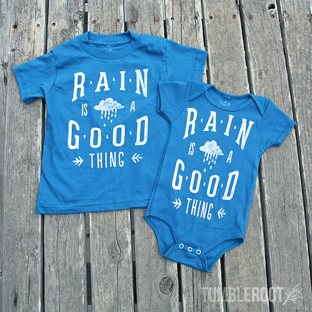 "Super adorable ""Rain is a Good Thing"" tees and onesies for your little cowboy or cowgirl!"