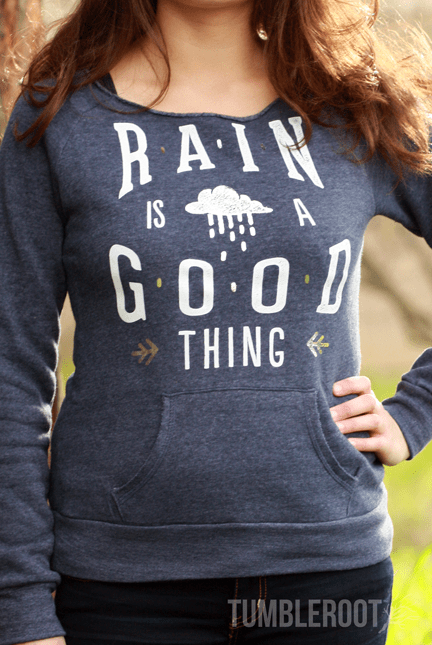 """Rain is a Good Thing"" adorable country girl sweatshirt with silver foil detail"